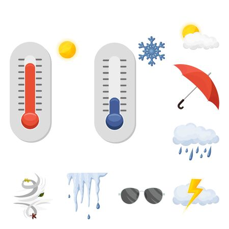 Isolated object of weather and climate symbol. Set of weather and cloud stock vector illustration.  イラスト・ベクター素材