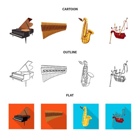 Vector illustration of music and tune sign. Set of music and tool stock vector illustration. Illusztráció