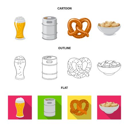 Vector design of pub and bar symbol. Set of pub and interior stock symbol for web. Иллюстрация