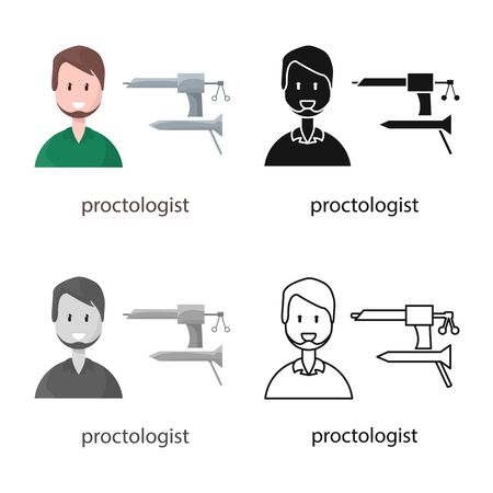 Isolated object of proctologist and diagnosis sign. Collection of proctologist and practitioner stock symbol for web.