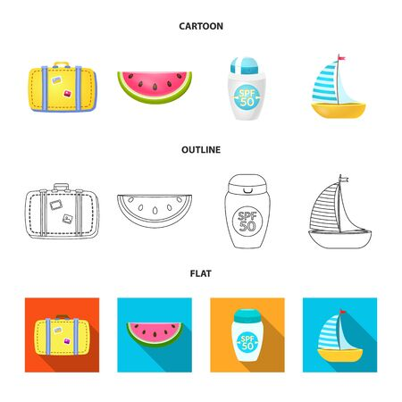 Vector illustration of equipment and swimming icon. Set of equipment and activity stock symbol for web. 写真素材 - 129846238