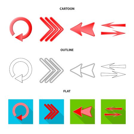 Vector illustration of element and arrow icon. Collection of element and direction stock vector illustration. 일러스트