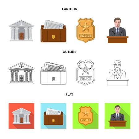 Isolated object of law and lawyer sign. Set of law and justice stock vector illustration. Standard-Bild - 129846242