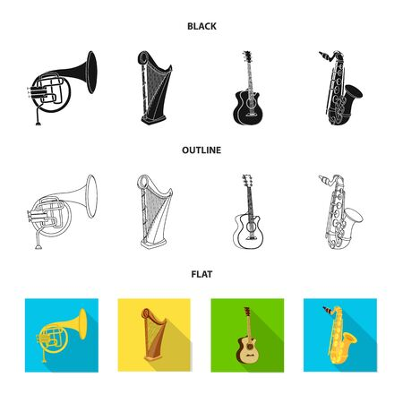 Vector design of music and tune symbol. Set of music and tool stock symbol for web.