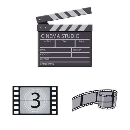 Vector design of cinema and theater. Set of cinema and entertainment stock vector illustration. Çizim