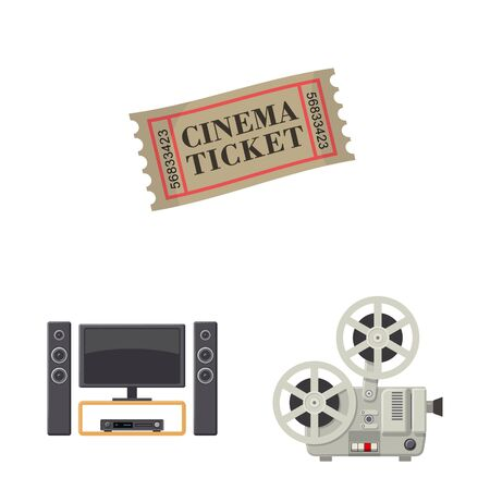 Isolated object of cinema and theater sign. Set of cinema and entertainment stock symbol for web.