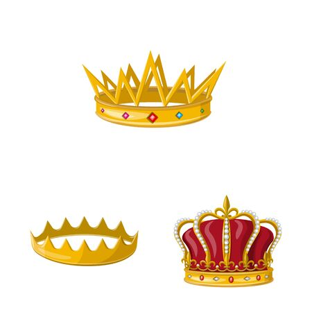 Isolated object of monarchy and gold sign. Collection of monarchy and heraldic stock symbol for web. 일러스트
