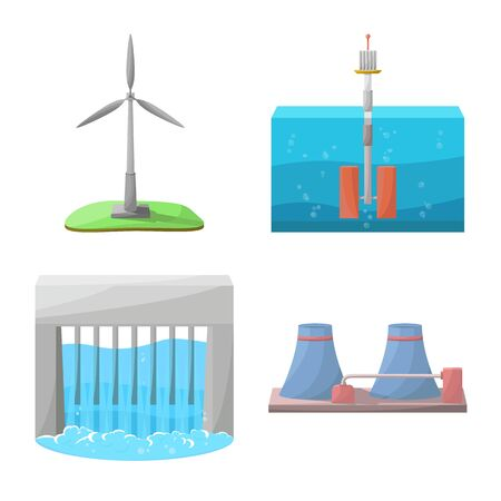 Vector design of energy and alternative. Collection of energy and development vector icon for stock. Иллюстрация
