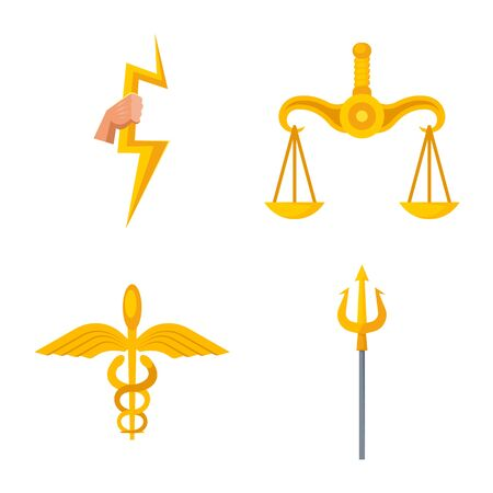 Vector design of attributes and greek icon. Collection of attributes and god stock vector illustration.
