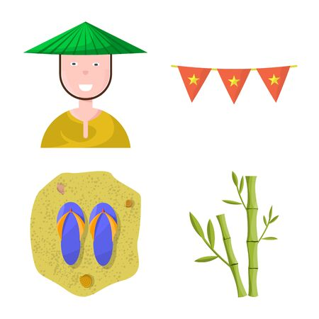 Vector design of vietnam and traditional symbol. Collection of vietnam and asia vector icon for stock. Illustration