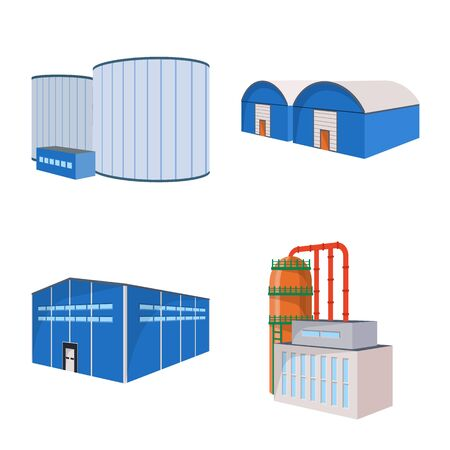 Isolated object of factory and industry icon. Collection of factory and industrial stock vector illustration. Illustration