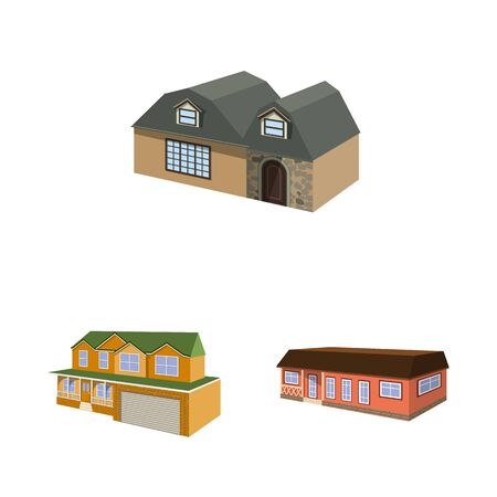 Vector design of building and home icon. Collection of building and construction stock symbol for web. Banco de Imagens - 129517377