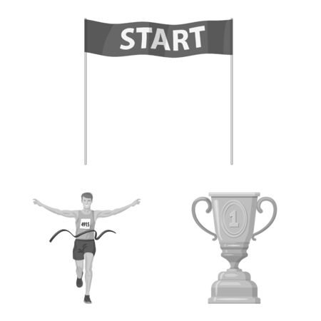 Isolated object of success and marathon icon. Collection of success and winner vector icon for stock. 일러스트