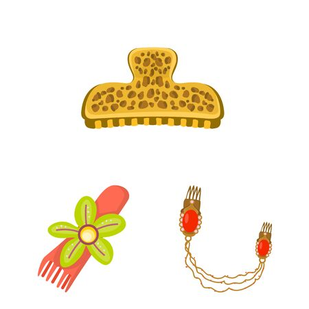 Isolated object of barrette and hair. Set of barrette and accessories stock vector illustration.