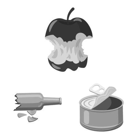 Vector design of dump. Set of dump and junk stock symbol for web.