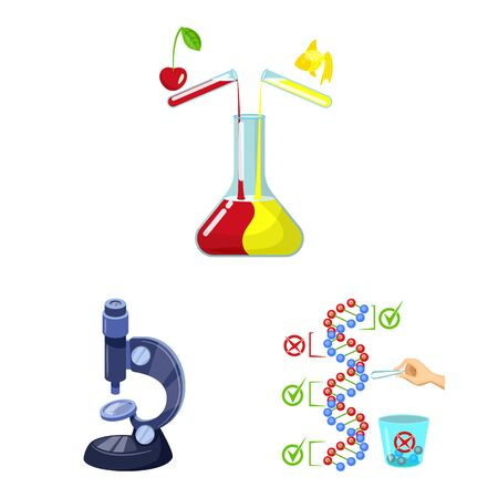 Vector illustration of modified and genetically sign. Collection of modified and science stock vector illustration.