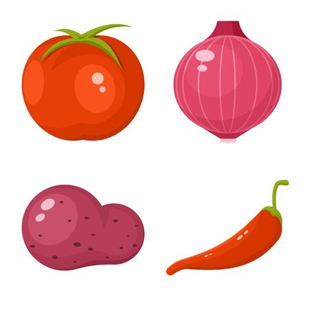 Isolated object of vegetable and food symbol. Set of vegetable and ripe stock symbol for web. Imagens - 129875660