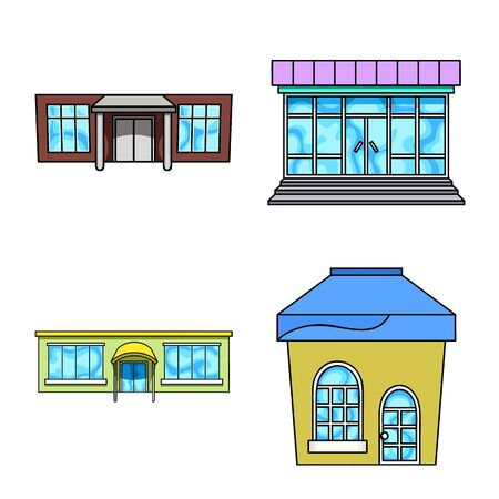 Vector illustration of supermarket and building icon. Set of supermarket and city vector icon for stock. Иллюстрация