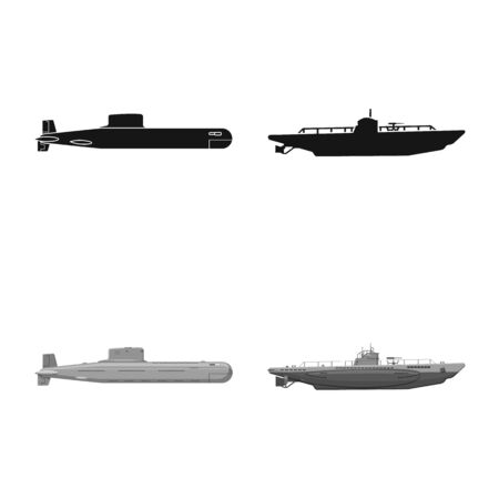 Vector design of war and ship sign. Collection of war and fleet stock vector illustration. 일러스트
