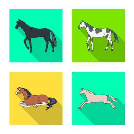 Isolated object of breed and equestrian. Set of breed and mare stock symbol for web.