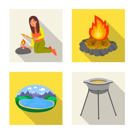 Vector illustration of cookout and wildlife symbol. Set of cookout and rest stock symbol for web. 일러스트