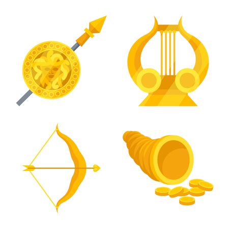 Vector illustration of attributes and greek symbol. Set of attributes and god vector icon for stock. 일러스트