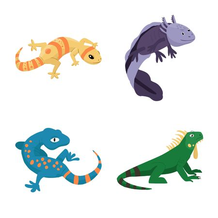 Vector design of animal and reptile icon. Collection of animal and nature stock symbol for web. Stockfoto - 129856516