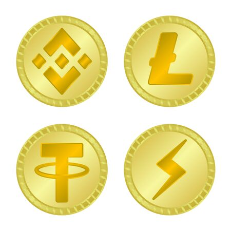 Vector illustration of currency and bitcoin icon. Set of currency and internet stock symbol for web.