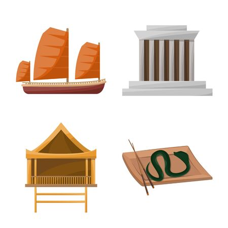 Vector design of vietnam and traditional. Collection of vietnam and asia stock symbol for web.