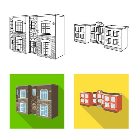 Vector design of facade and housing icon. Set of facade and infrastructure stock vector illustration.