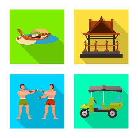 Diseño vectorial de viaje e icono exótico. Conjunto de icono de vector nacional y viaje para stock. Ilustración de vector
