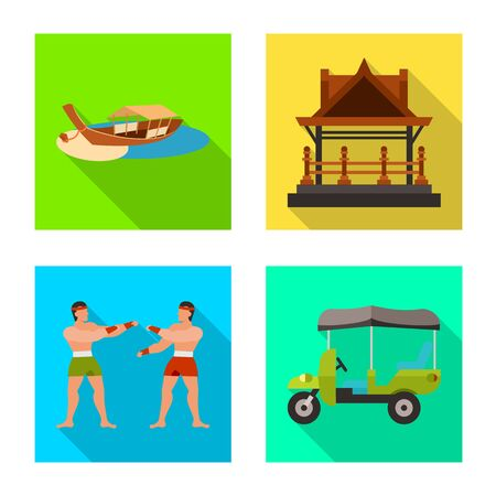 Vector design of journey and exotic icon. Set of journey and national vector icon for stock.