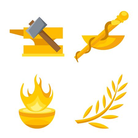 Vector illustration of attributes and greek sign. Set of attributes and god vector icon for stock. Stock Vector - 129856625
