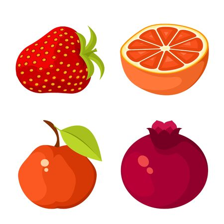 Vector design of vegetable and food icon. Set of vegetable and ripe stock vector illustration. Çizim