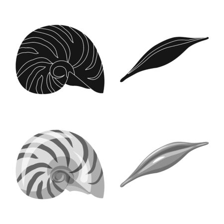 Vector illustration of animal and decoration. Set of animal and ocean vector icon for stock. 일러스트