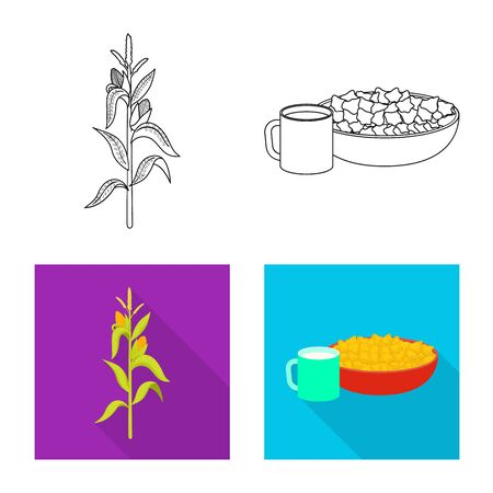Isolated object of cornfield and vegetable sign. Set of cornfield and vegetarian vector icon for stock. Illustration