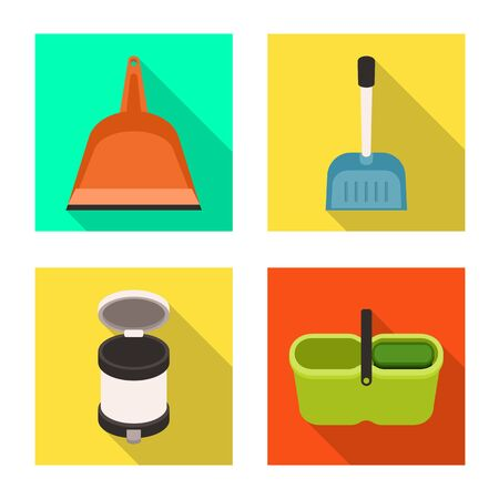 Vector design of cleanup and household. Set of cleanup and washing stock vector illustration.