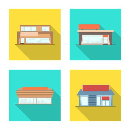 Isolated object of boutique and construction symbol. Collection of boutique and cityscape stock vector illustration.