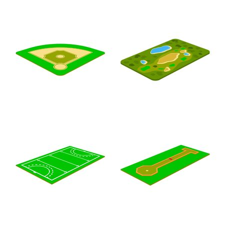 Vector illustration of stadium and grass. Collection of stadium and game stock symbol for web.
