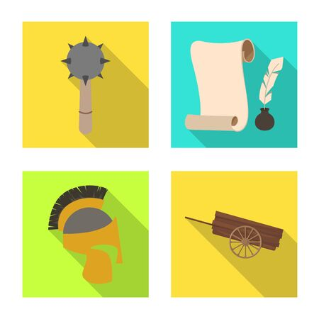 Vector illustration of old and culture icon. Collection of old and renaissance stock vector illustration.