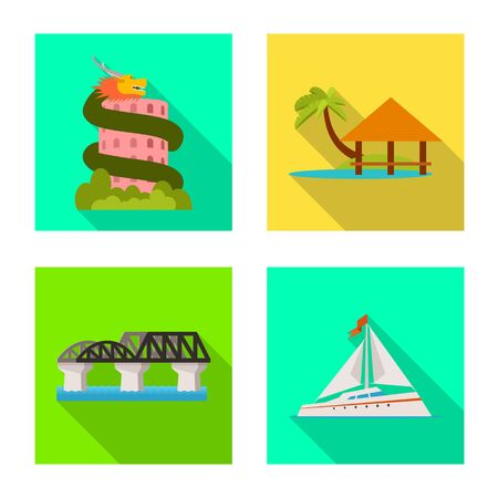 Vector illustration of journey and exotic icon. Collection of journey and national stock vector illustration.