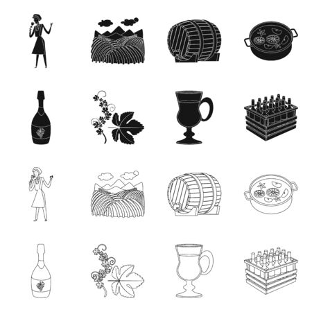 Isolated object of farm and vineyard. Collection of farm and product vector icon for stock.