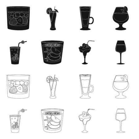 Isolated object of liquor and restaurant. Set of liquor and ingredient stock symbol for web.