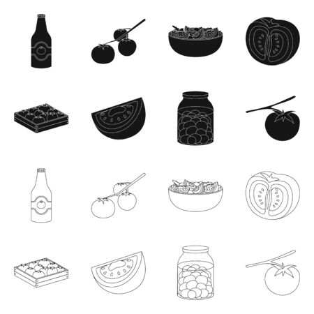 Isolated object of vegetable and delicious icon. Collection of vegetable and natural vector icon for stock.