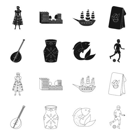 Isolated object of and historic icon. Set of and country vector icon for stock.
