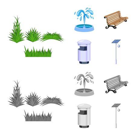 Vector illustration of urban and street symbol. Set of urban and relaxation stock vector illustration. Vecteurs