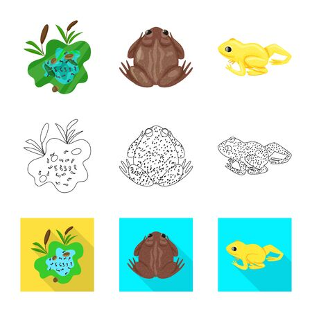 Isolated object of wildlife and bog icon. Set of wildlife and reptile vector icon for stock.