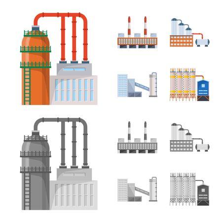 Isoliertes Produktions- und Strukturobjekt. Satz von Produktions- und Technologieaktiensymbolen für das Web. Vektorgrafik
