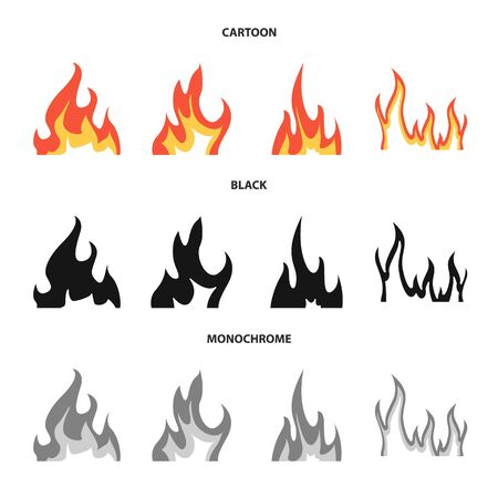 Vector design of bright and dangerous. Set of bright and wildfire vector icon for stock.