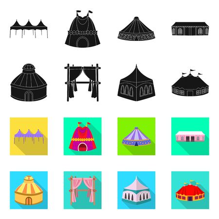 Isolated object of roof and folding icon. Set of roof and architecture stock vector illustration.